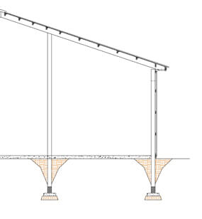 Embedded columns; rafter roof