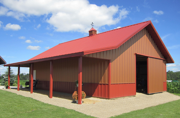 Delevan ny garage building lester buildings project for Hobby barn plans