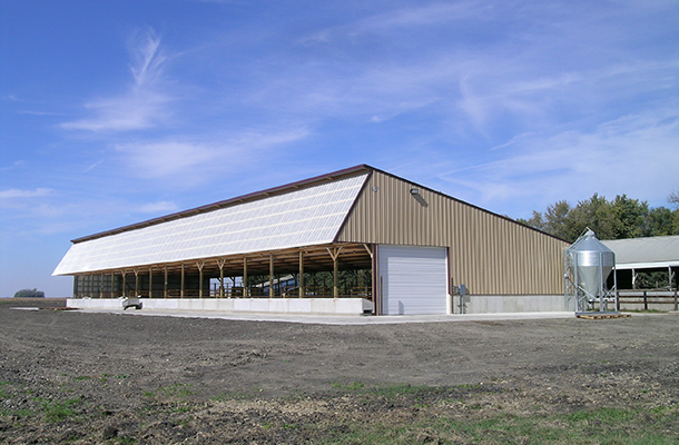 Stewart, MN Dairy calf housing, Ron Foust, Lester Buildings