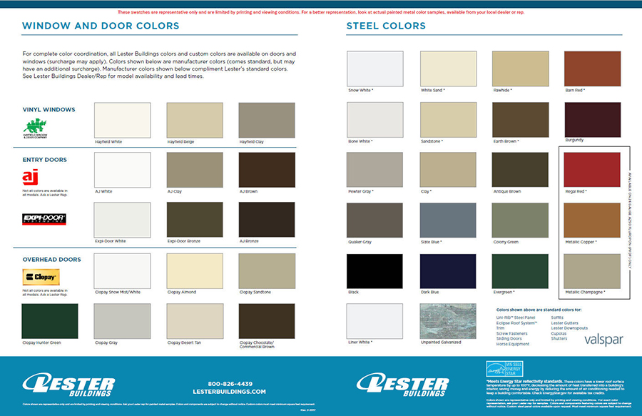 Butler Metal Building Color Chart