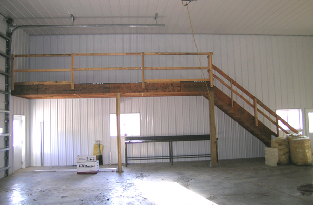 Shedlast lester pole barn plans for How to build a mezzanine floor in a garage