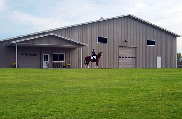 West Branch MI, Stable and Arena with Living Quarters, Miller Construction & Equipment Inc., Lester Buildings